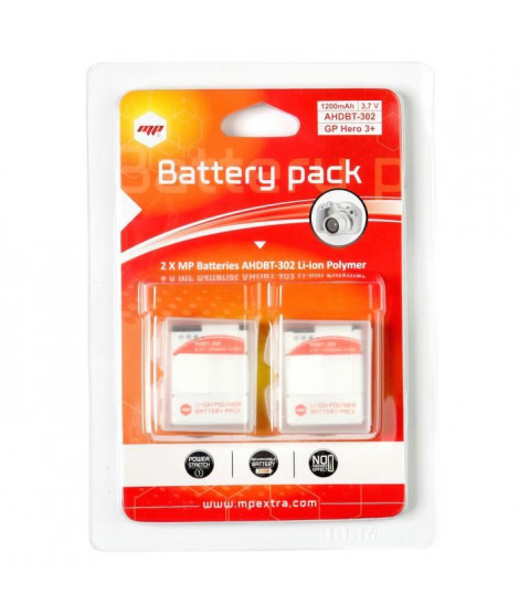 MP EXTRA  MP-PACK-DOUBLE-GP3  Pack de 2 batteries pour GoPro 3+ et GoPro 3