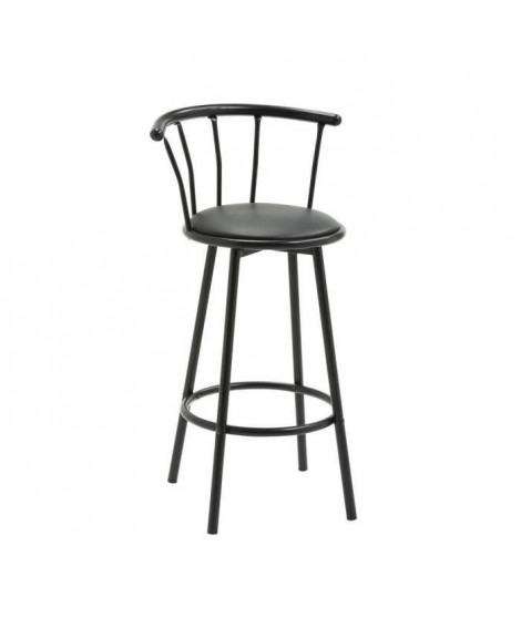 BISTROT Tabouret de bar noir assise pivotante