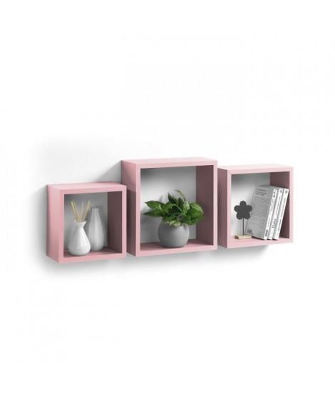 Lot de 3 cubes gigognes 23-26,5-30 cm rose poudré