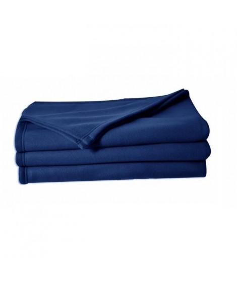 Couverture maille polaire 180x220 cm bleu