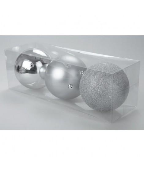 Set de 3 boules 12 cm de coloris argenté