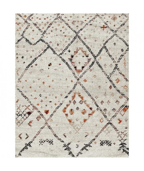 NAZAR Tapis de salon Marokko 160x230 cm blanc et beige