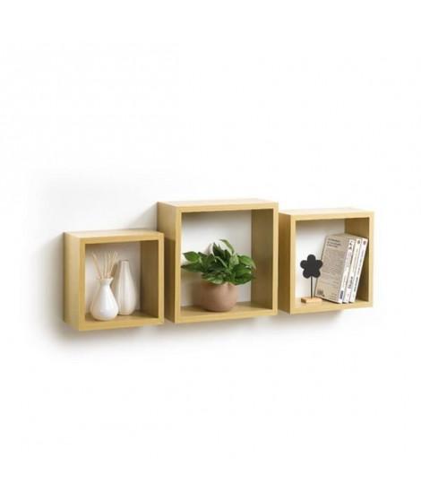 CODICO Set de 3 cubes gigognes Homeo 23-26-30 cm chene clair