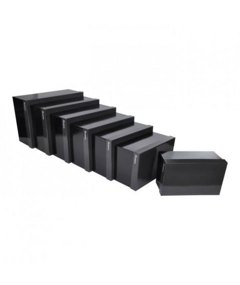 CODICO Set de 7 boîtes de rangement Classy 26-28-30-33-35-37-39 cm noir et gris