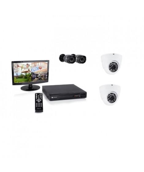 """SMARTWARES Kit de surveillance filaire DVR528S avec enregistreur 8 canaux 500 Gb, 1 écran 14"""", 2 caméras bullet et 2 caméras …"""