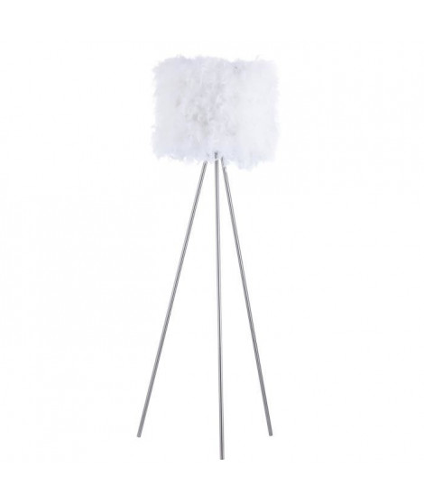 Lampadaire en plumes 40x160 cm E27 40 W blanc