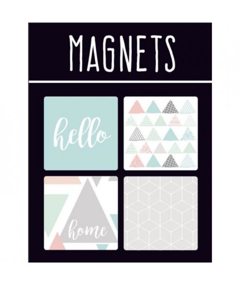 EMOTION Lot de 4 magnets style Scandinave - Couleur pastel
