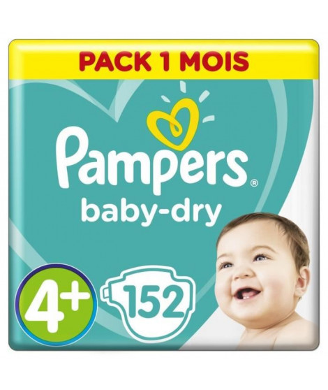 PAMPERS Baby Dry Taille 4+ 9 a 20kg 152 couches
