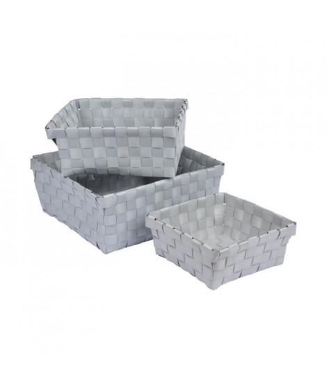 HOMEA Set de 3 paniers de rangement tréssés gris 14,5-18-21,5 cm gris clair