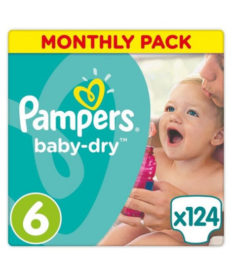PAMPERS Baby Dry Taille 6 des 15 kg 124 couches