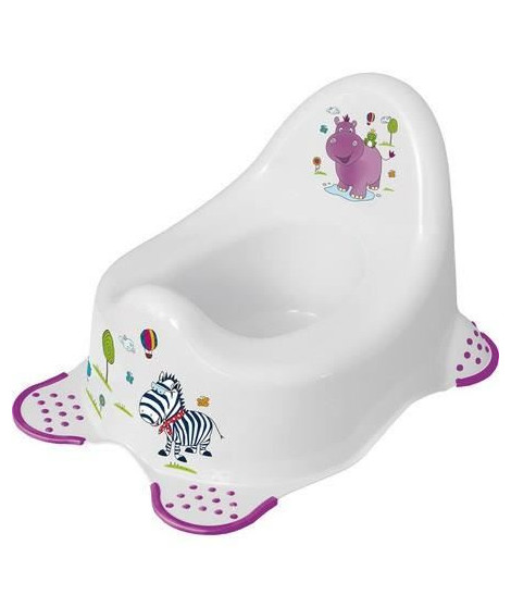 PLASTOREX Vase de Nuit Blanc a Pieds Antidérapants Violet Décor Hippo