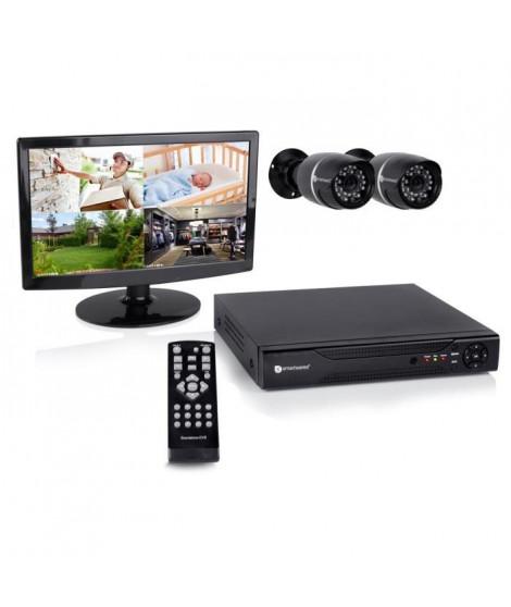 """SMARTWARES Kit de surveillance filaire avec enregistreur 8 canaux 500Gb de stockage 1 écran 14"""" et 2 caméras bullet DVR528S"""