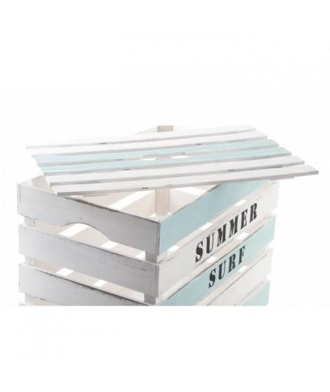 Lot de 5 boites de rangement summer - bois 55x35x40 cm