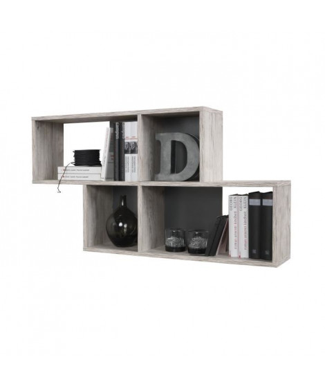 NORA Etagere murale - 100 x 19, 5 x 53 cm - Chene Sable Anthracite
