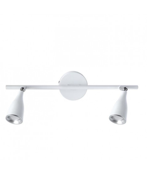 Spot barre a 2 lumieres Cilao LED 4,5W ampoules fournies largeur 40 cm blanc