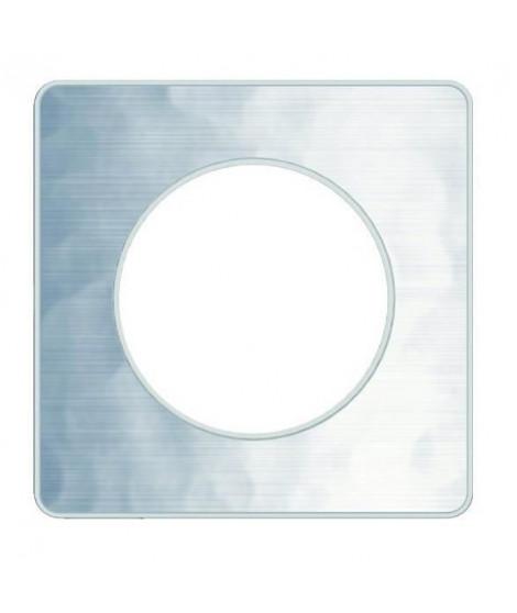 SCHNEIDER ELECTRIC Plaque de finition 1 poste Odace Touch aluminium martelé liseré blanc