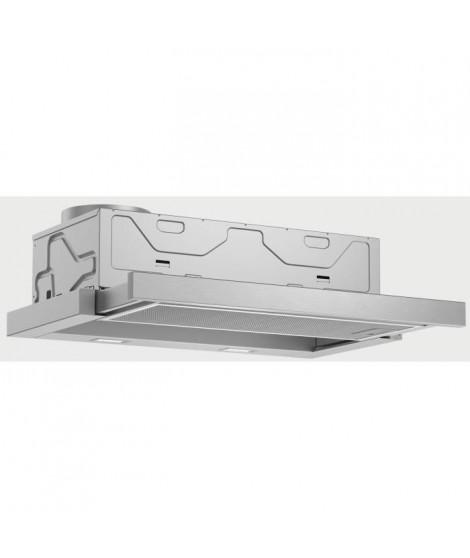 BOSCH DFM064A51-Hotte tiroir téléscopique-Evacuation / recyclage-420 m3 air / h-59 dB max-A-4 vitesses-L 60 cm-Inox