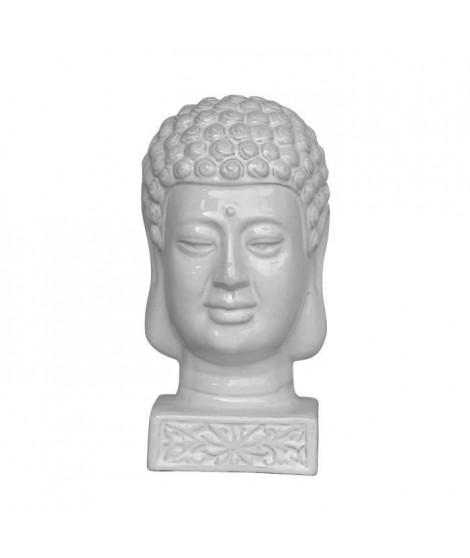 HOMEA Tete de bouddha émaillée déco Ø17xH33 cm blanc