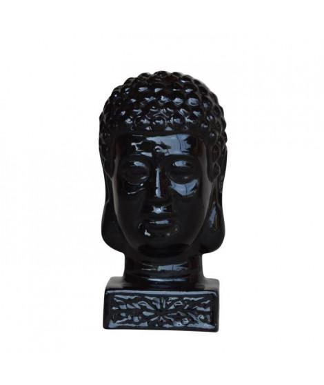 HOMEA Tete de bouddha émaillée déco Ø17xH33 cm noir