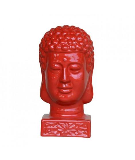 HOMEA Tete de bouddha émaillée déco Ø17xH33 cm rouge