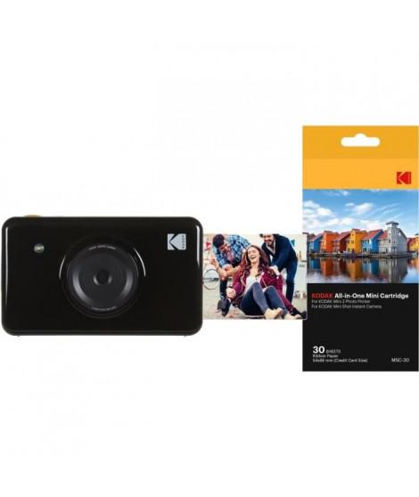 Pack Kodak Mini Shot Appareil photo instantané + Pack de 30 feuilles compatible Mini Shot et imprimante Mini 2