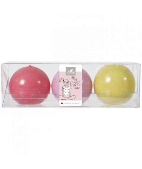 LE CHAT Lot de 3 bougies boules colorés d.60mm