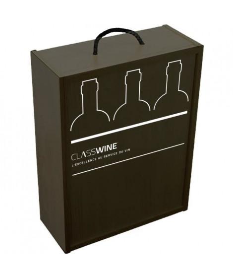 Caisse bois noire - Pour 3 bouteilles format Bordeaux