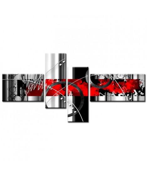 FEU Tableau Multi Panneaux  abstrait 140x70 cm rouge