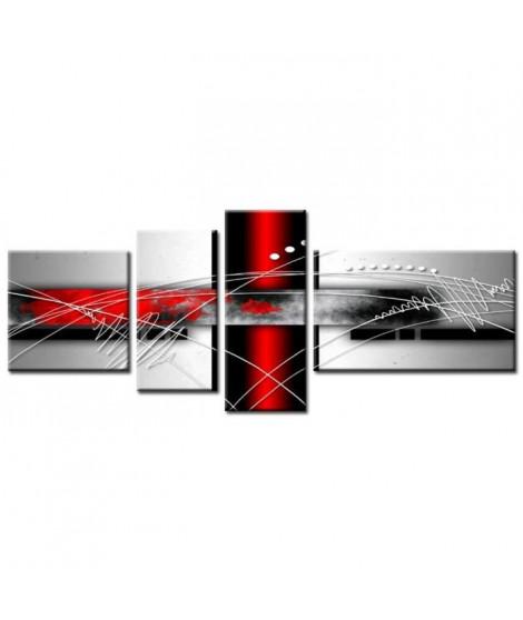 FORCE Tableau Multi Panneaux  abstrait 160x60 cm rouge