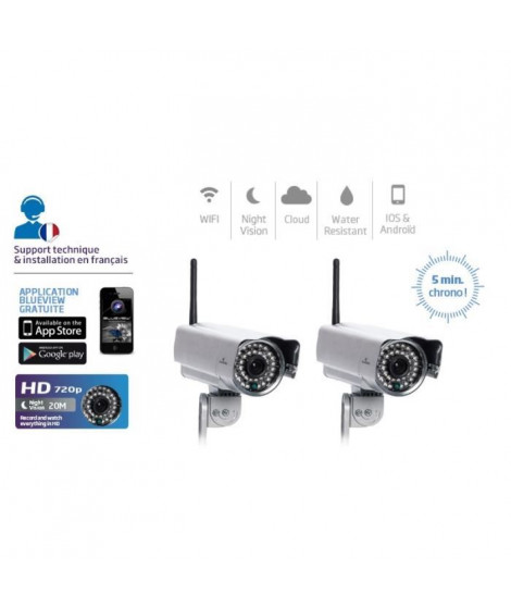 BLUESTORK PACK 2 CAMERAS IP HD CLOUD WIFI VISION DE NUIT - CAM/OF/HD2X