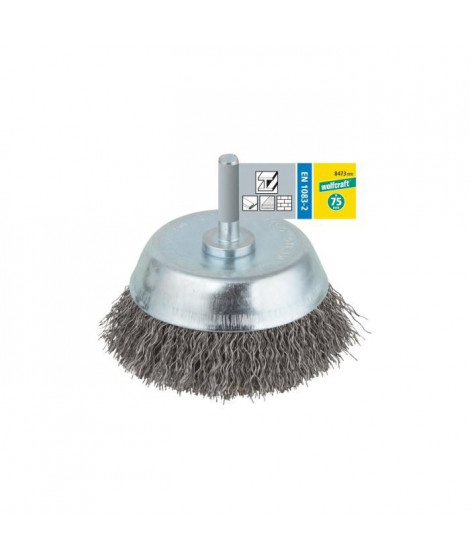 WOLFCRAFT Brosse soucoupe ø 75mm queue ronde pour perceuses