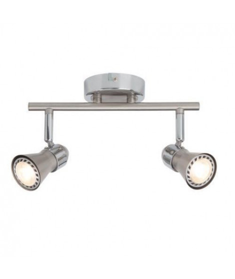 BRILLANT Plafonnier LED a 2 lumieres Sanny GU10 3W acier et chrome
