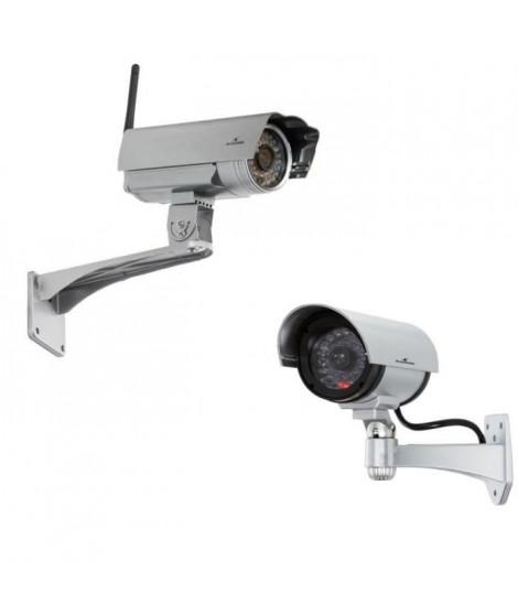 Bluestork Caméra IP HD Cloud Wifi  Fixe Exterieure Connectée + Caméra IP factice d'extérieur BS-DUMYCAM