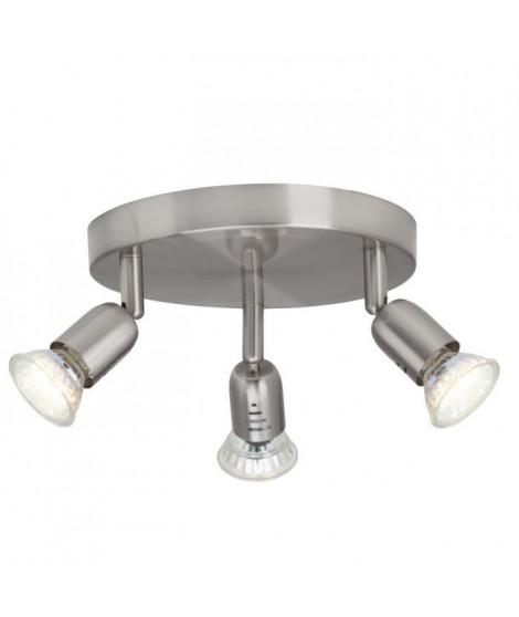 BRILLANT Plafonnier LED a 3 lumieres Loona 3xGU10 3W acier