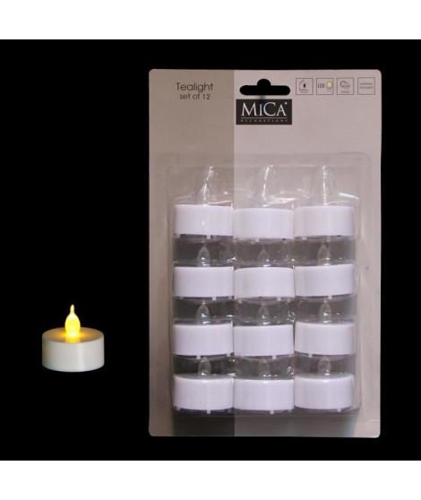 MICA DECORATIONS Lot de 24 bougies déco rechaud - Blanc