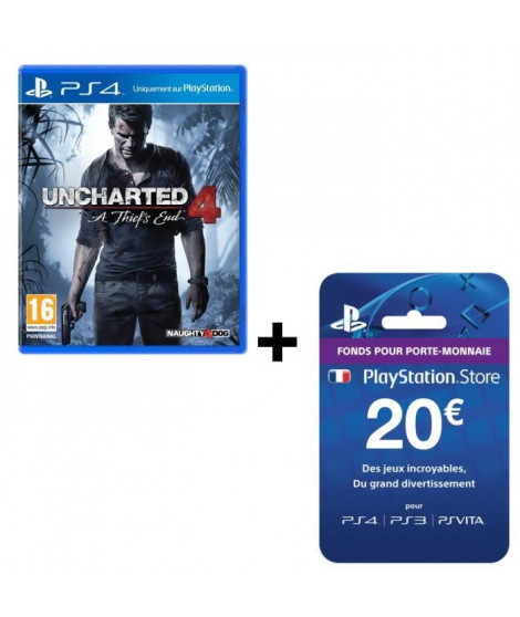 Pack Uncharted 4: A Thief's End Jeu PS4 + Playstation Network Live Card 20?