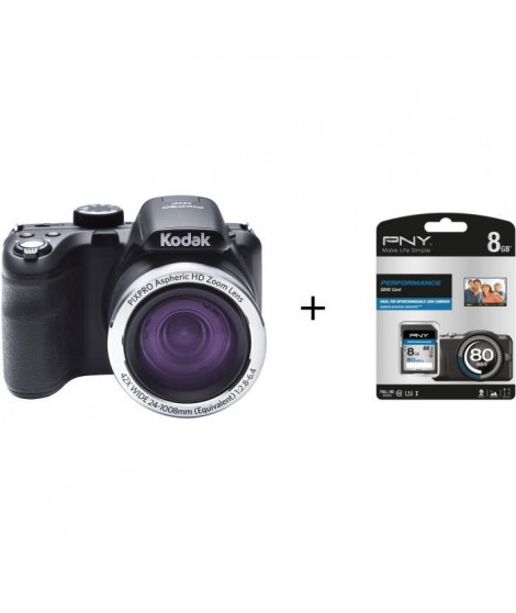 Pack KODAK AZ421 Appareil photo numérique - Noir + Carte mémoire SDHC 8 Go