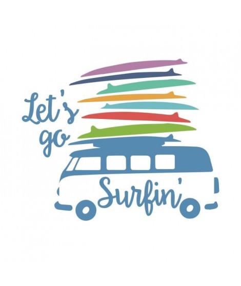 Stickers adhésif mural Let's go surfin' Exotic Furgoncino Vintage con Tavole da Surf - 67x55cm