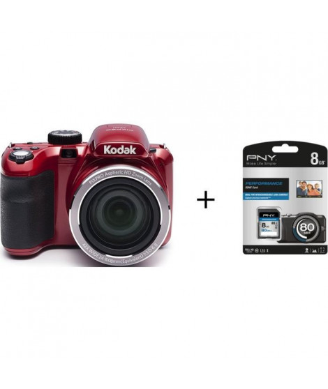 Pack KODAK AZ421 Appareil photo numérique Rouge + Carte mémoire SDHC 8 Go