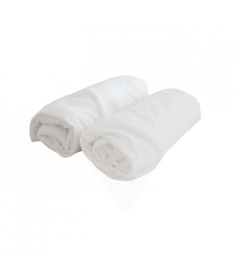DOUX NID Lot de 2 draps housse Blanc 70x140cm