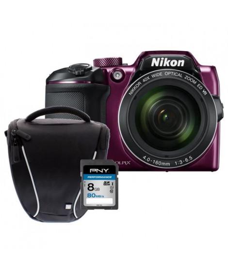 NIKON COOLPIX B500 - Appareil photo numérique Bridge - Bluetooth - Violet  + Carte 8Go + Sacoche