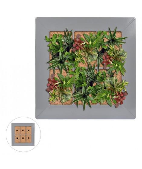 Mur végétal en métal 37x37cm - Gris