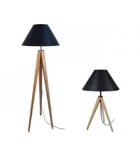IDUN Lampadaire + lampe a poser trépied bois massif naturel IDUN - Style scandinave - Abat-jour conique en coton noir