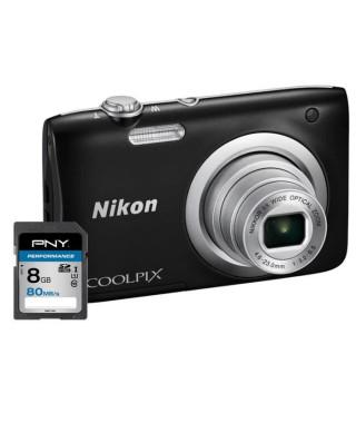 NIKON COOLPIX A100 Appareil photo numérique Compact - 20,1 mégapixels - Zoom NIKKOR - Noir + Carte 8Go