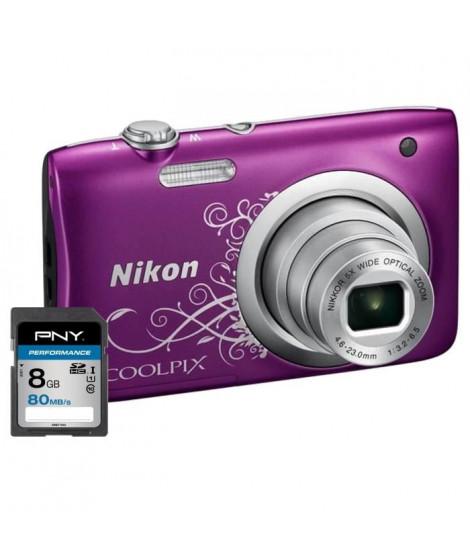 NIKON COOLPIX A100 Appareil photo numérique Compact - 20,1 mégapixels - Zoom NIKKOR - Violet  + Carte 8Go