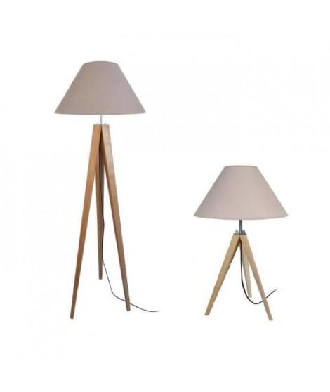IDUN  Lampadaire + lampe a poser trépied bois massif naturel style scandinave - Abat-jour conique en coton taupe