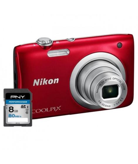 NIKON COOLPIX A100 Appareil photo numérique Compact - 20,1 mégapixels - Zoom NIKKOR - Rouge + Carte 8Go