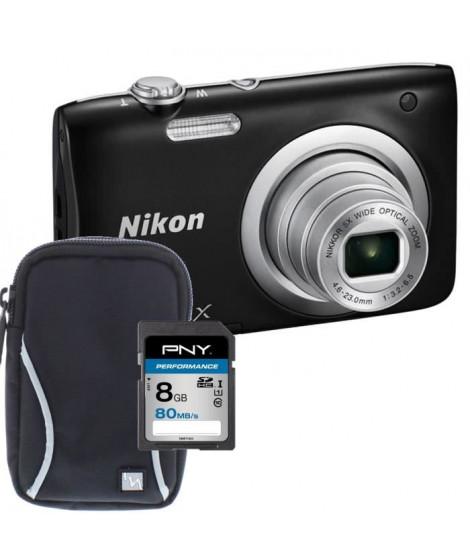 NIKON COOLPIX A100 Appareil photo numérique Compact - 20,1 mégapixels - Zoom NIKKOR - Noir + Carte 8Go + Etui
