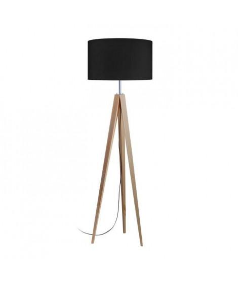 TOSEL Lampadaire trépied bois massif naturel IDUN style scandinave - Abat-jour cylindrique noir