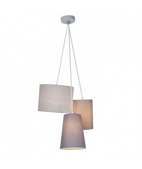 Suspension 3L - gris - métal/textile - E27 3x60W